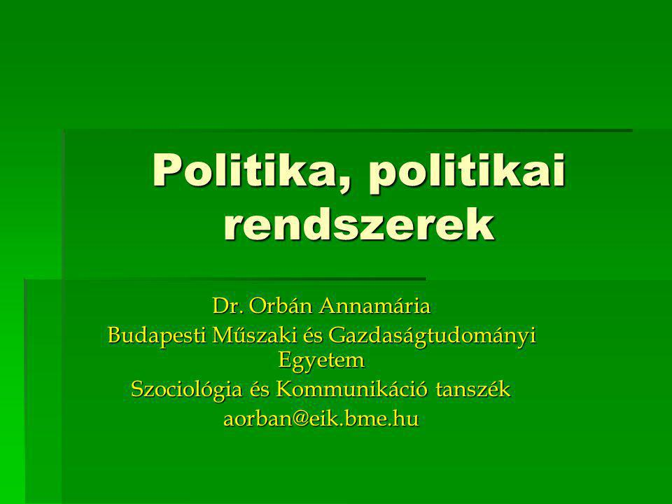 Politika, politikai rendszerek