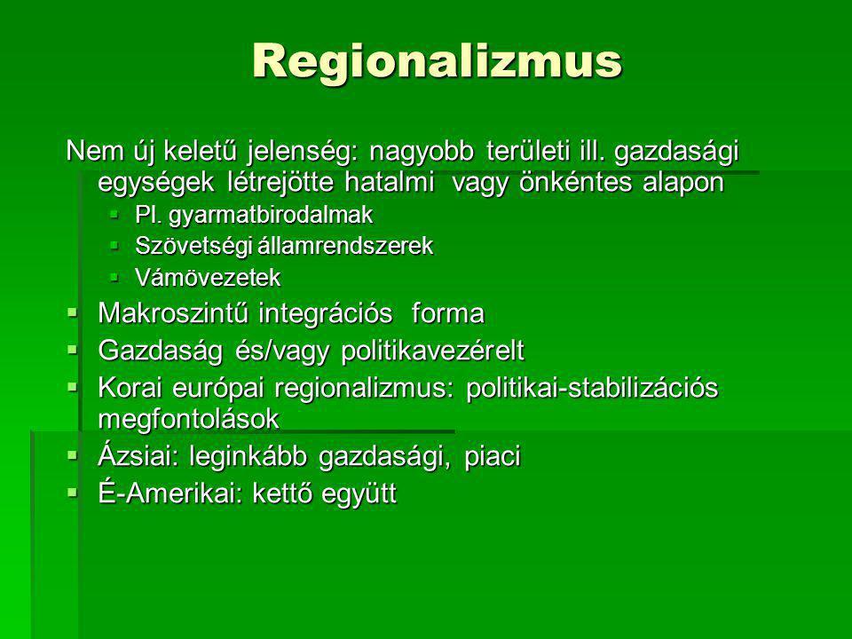 Regionalizmus Nem új keletű jelenség: nagyobb területi ill. gazdasági egységek létrejötte hatalmi vagy önkéntes alapon.