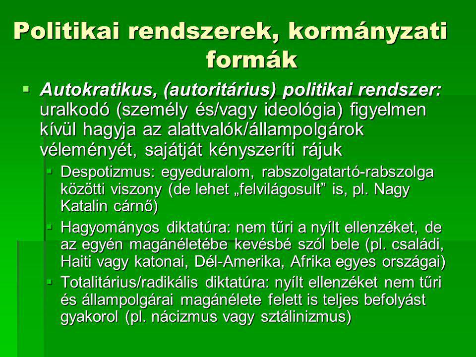 Politikai rendszerek, kormányzati formák