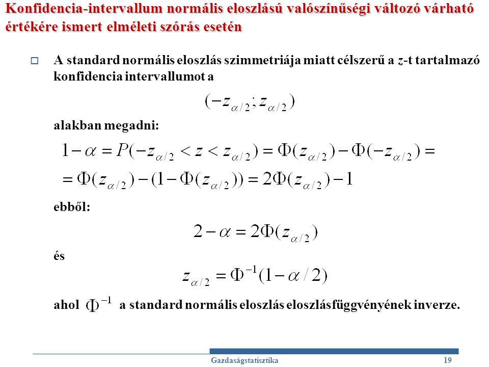 Konfidencia-intervallum normális eloszlású valószínűségi változó várható értékére ismert elméleti szórás esetén