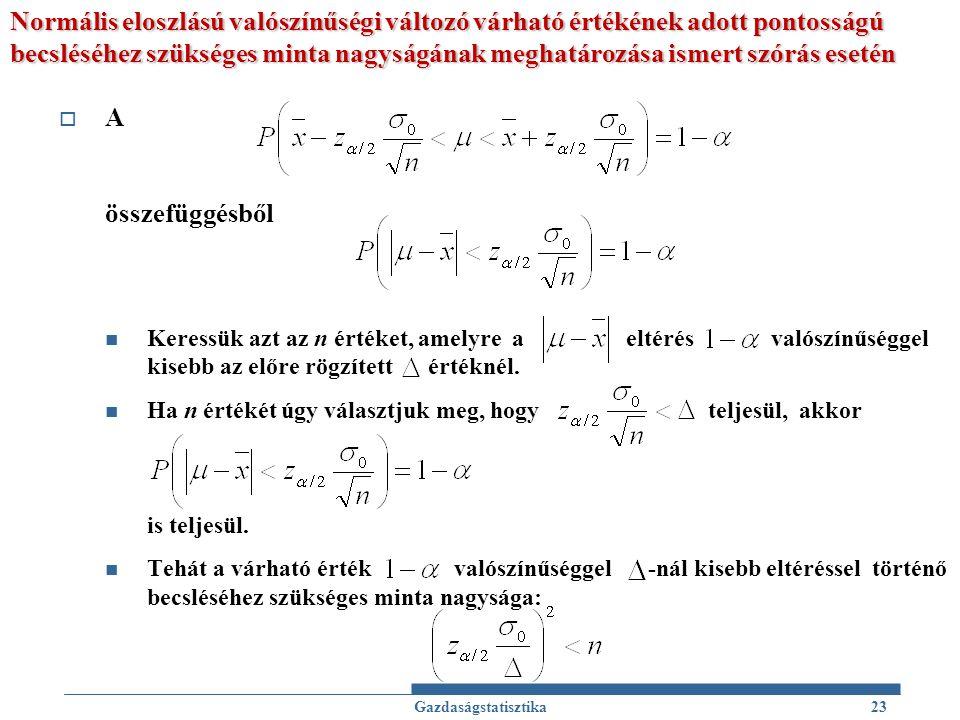 Normális eloszlású valószínűségi változó várható értékének adott pontosságú becsléséhez szükséges minta nagyságának meghatározása ismert szórás esetén