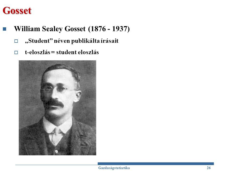 Gosset William Sealey Gosset (1876 - 1937)