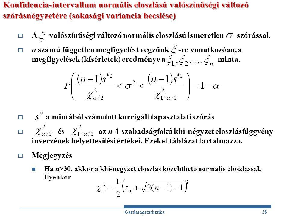 Konfidencia-intervallum normális eloszlású valószínűségi változó szórásnégyzetére (sokasági variancia becslése)