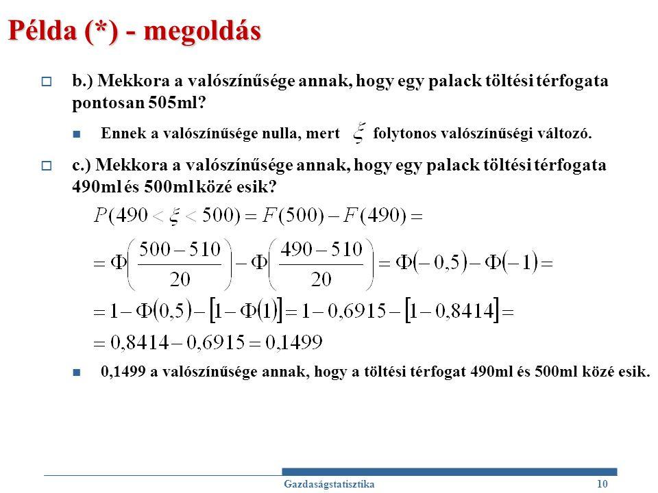 Példa (*) - megoldás b.) Mekkora a valószínűsége annak, hogy egy palack töltési térfogata pontosan 505ml
