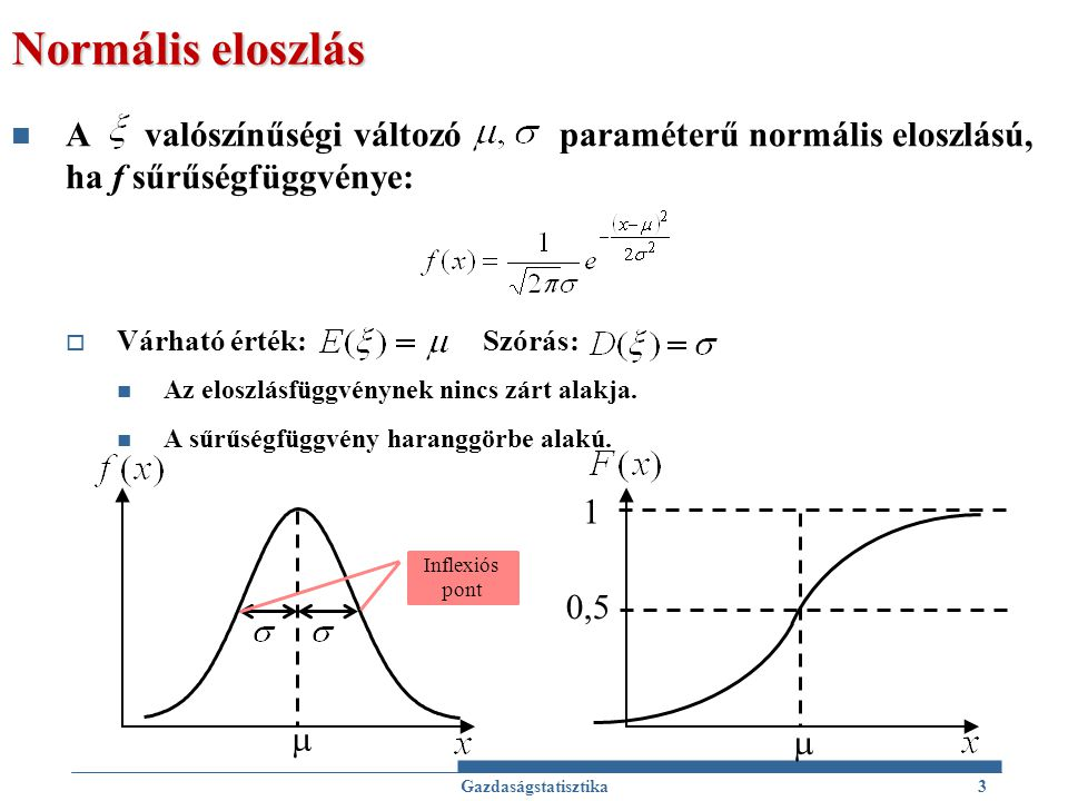 Normális eloszlás A valószínűségi változó paraméterű normális eloszlású, ha f sűrűségfüggvénye: