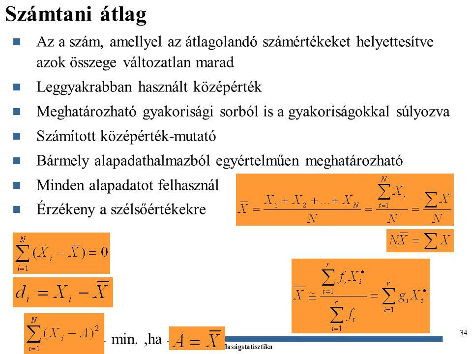 Számtani átlag Az a szám, amellyel az átlagolandó számértékeket helyettesítve azok összege változatlan marad.