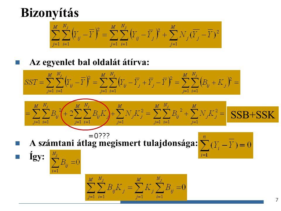 Bizonyítás SSB+SSK Az egyenlet bal oldalát átírva: