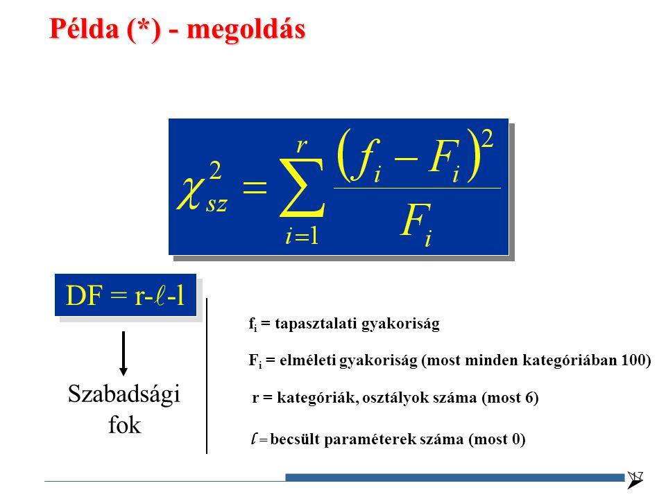 Példa (*) - megoldás DF = r-l-l Szabadsági fok 