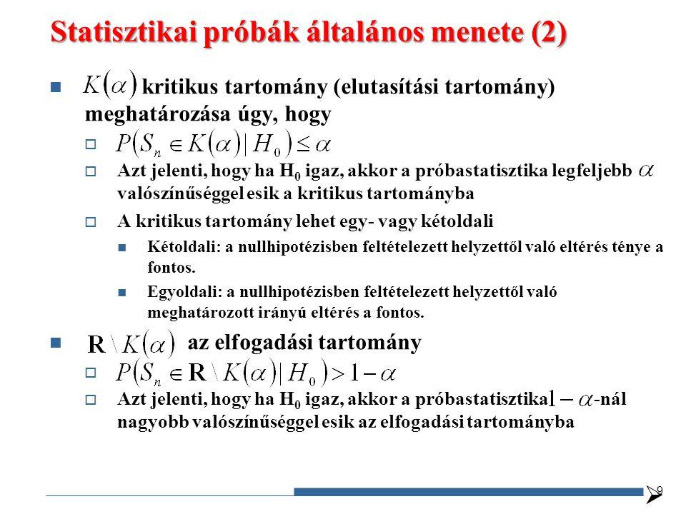 Statisztikai próbák általános menete (2)