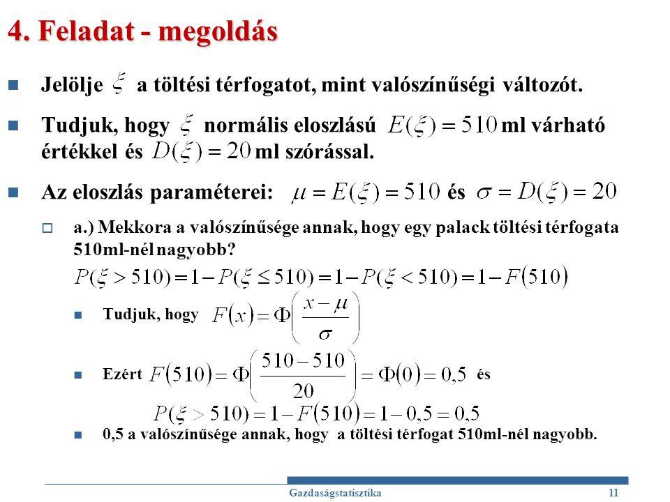 4. Feladat - megoldás Jelölje a töltési térfogatot, mint valószínűségi változót.