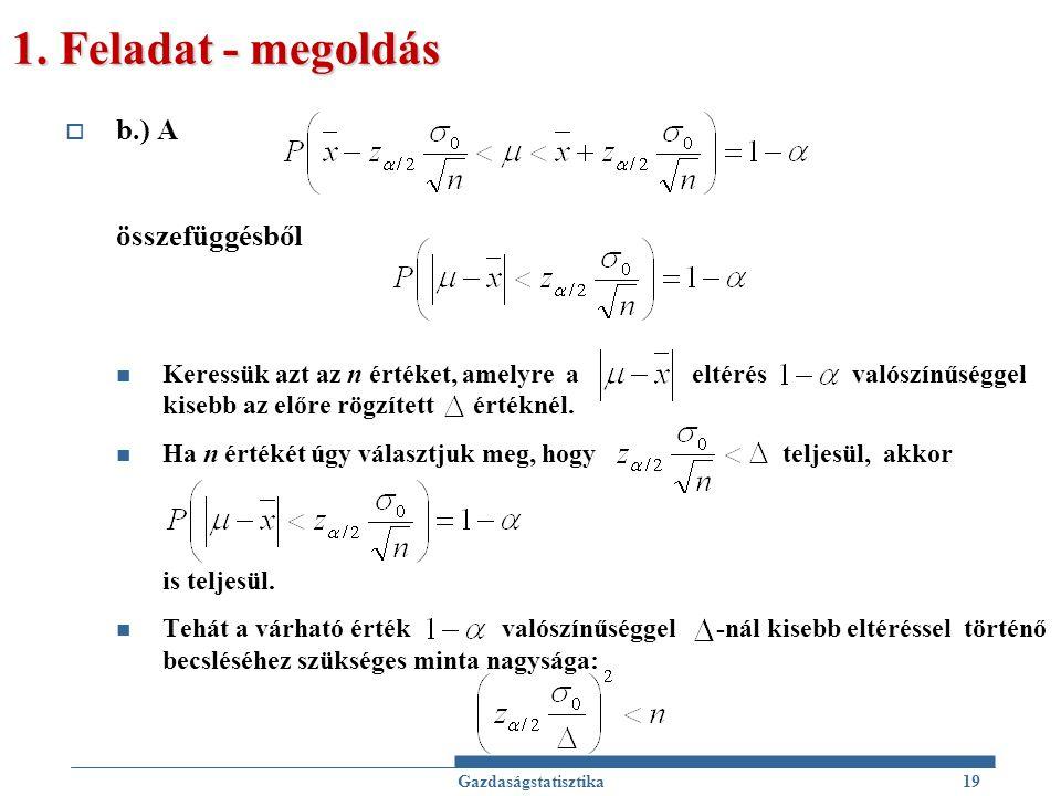 1. Feladat - megoldás b.) A összefüggésből