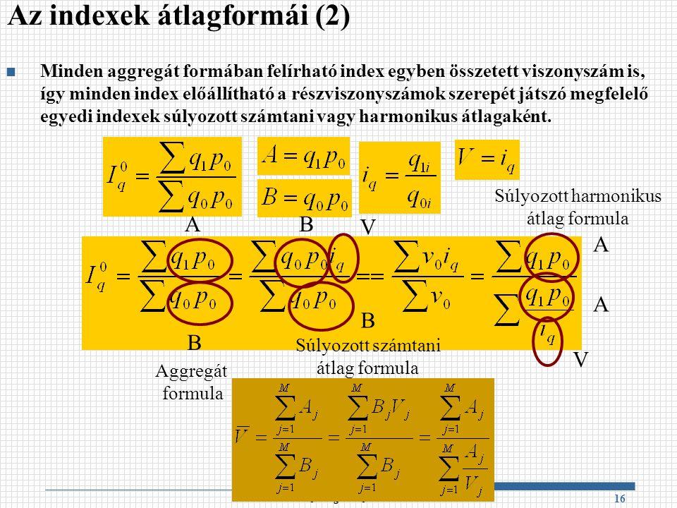 Az indexek átlagformái (2)