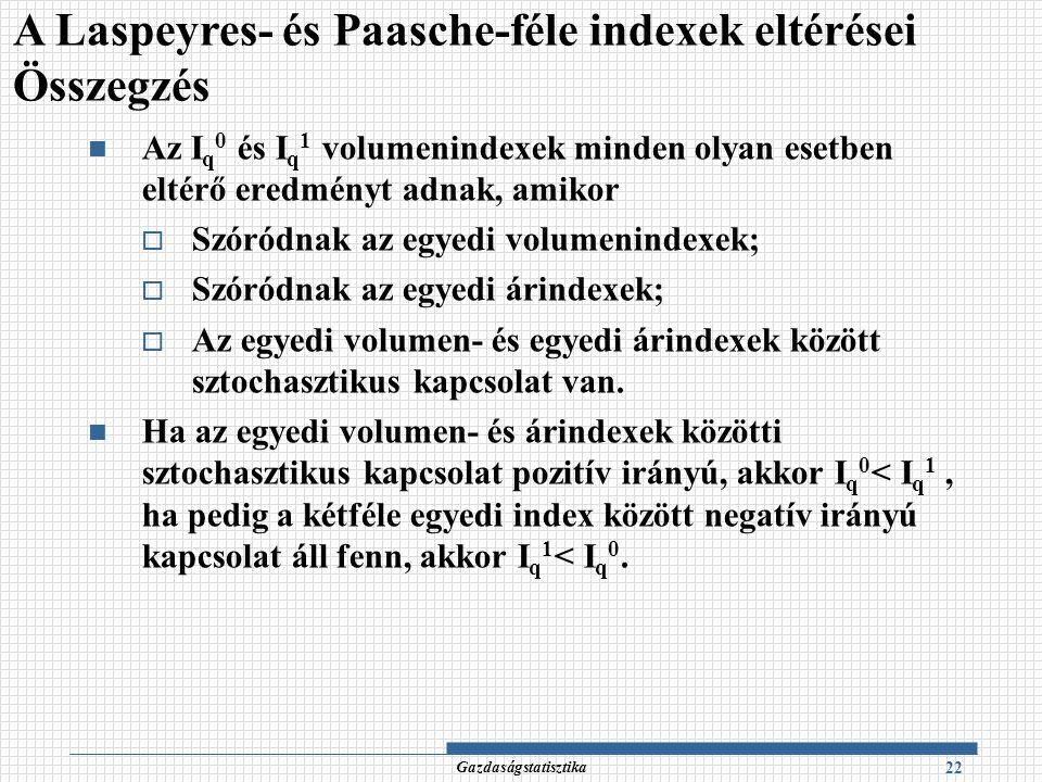 A Laspeyres- és Paasche-féle indexek eltérései Összegzés