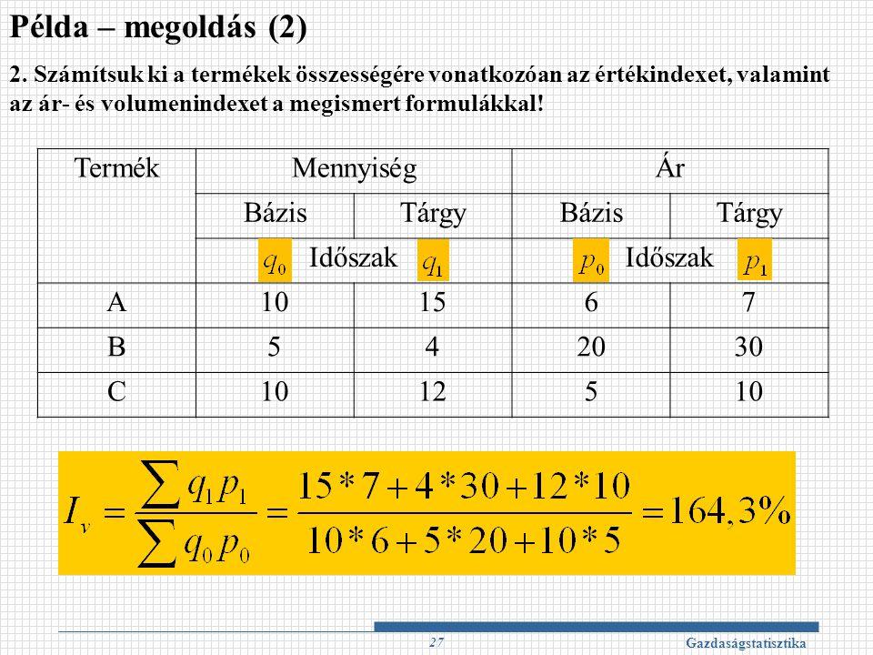Példa – megoldás (2) Termék Mennyiség Ár Bázis Tárgy Időszak A 10 15 6