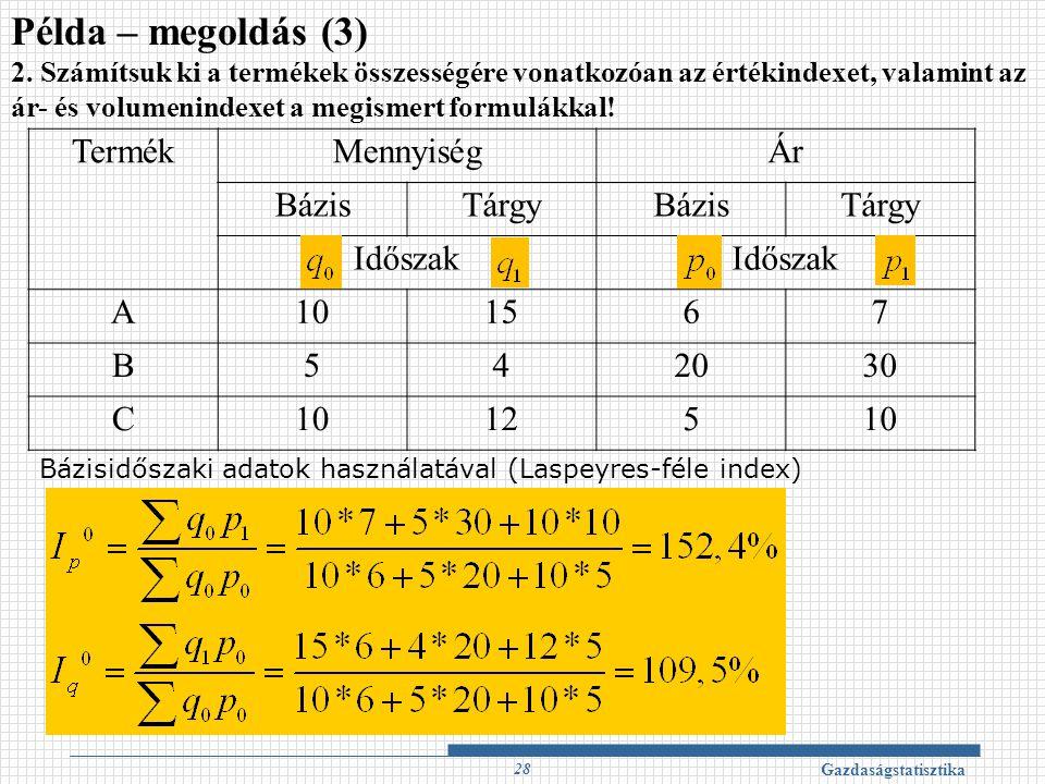 Példa – megoldás (3) Termék Mennyiség Ár Bázis Tárgy Időszak A 10 15 6