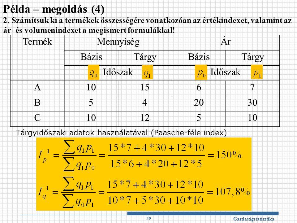 Példa – megoldás (4) Termék Mennyiség Ár Bázis Tárgy Időszak A 10 15 6
