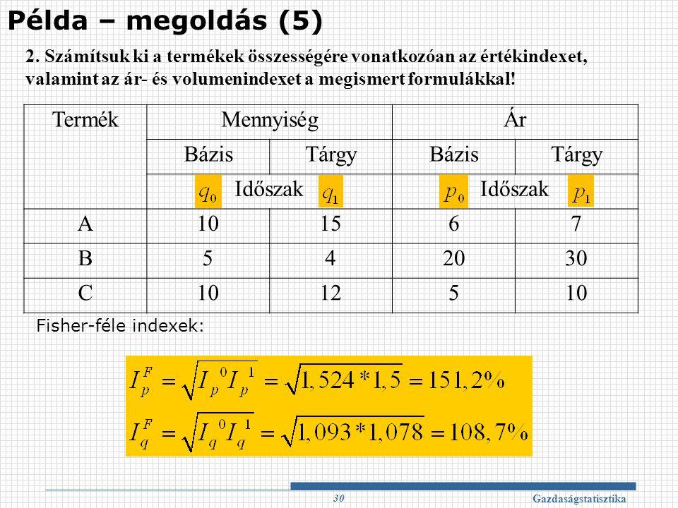 Példa – megoldás (5) Termék Mennyiség Ár Bázis Tárgy Időszak A 10 15 6