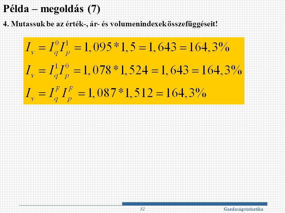 Példa – megoldás (7) 4. Mutassuk be az érték-, ár- és volumenindexek összefüggéseit.