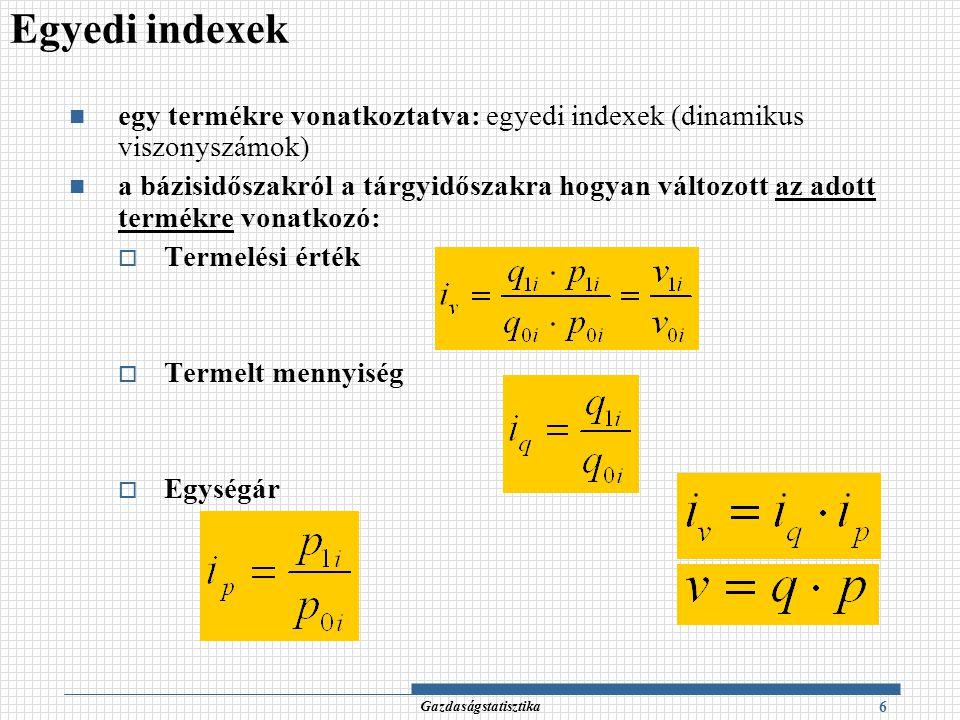 Egyedi indexek egy termékre vonatkoztatva: egyedi indexek (dinamikus viszonyszámok)
