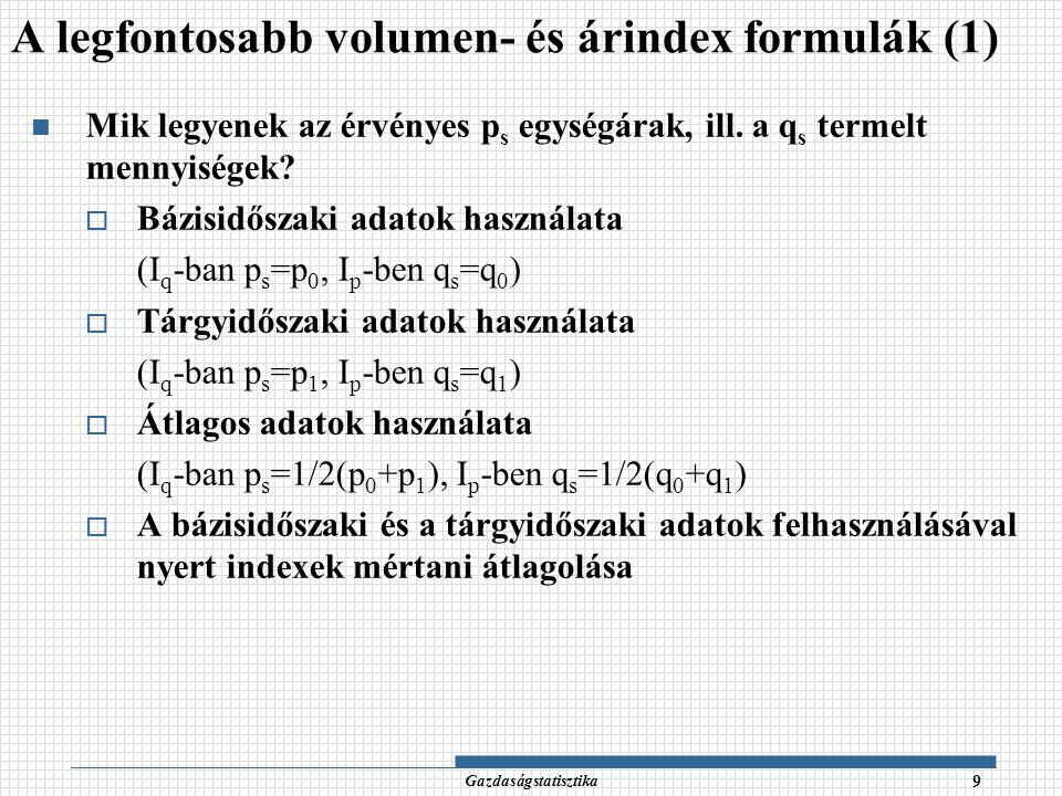 A legfontosabb volumen- és árindex formulák (1)