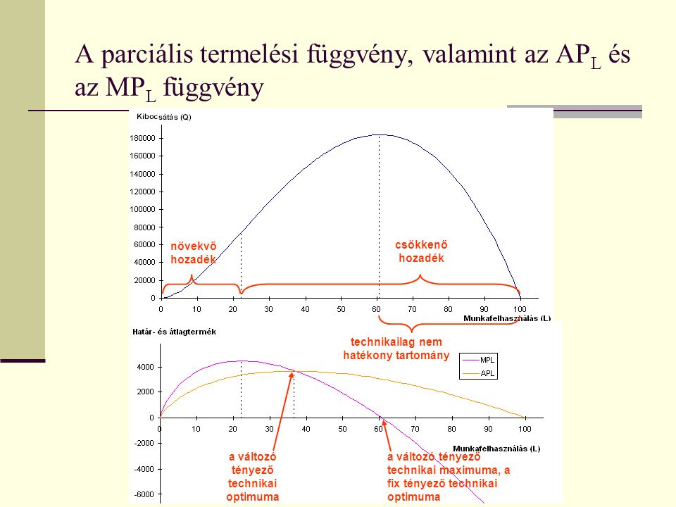 A parciális termelési függvény, valamint az APL és az MPL függvény