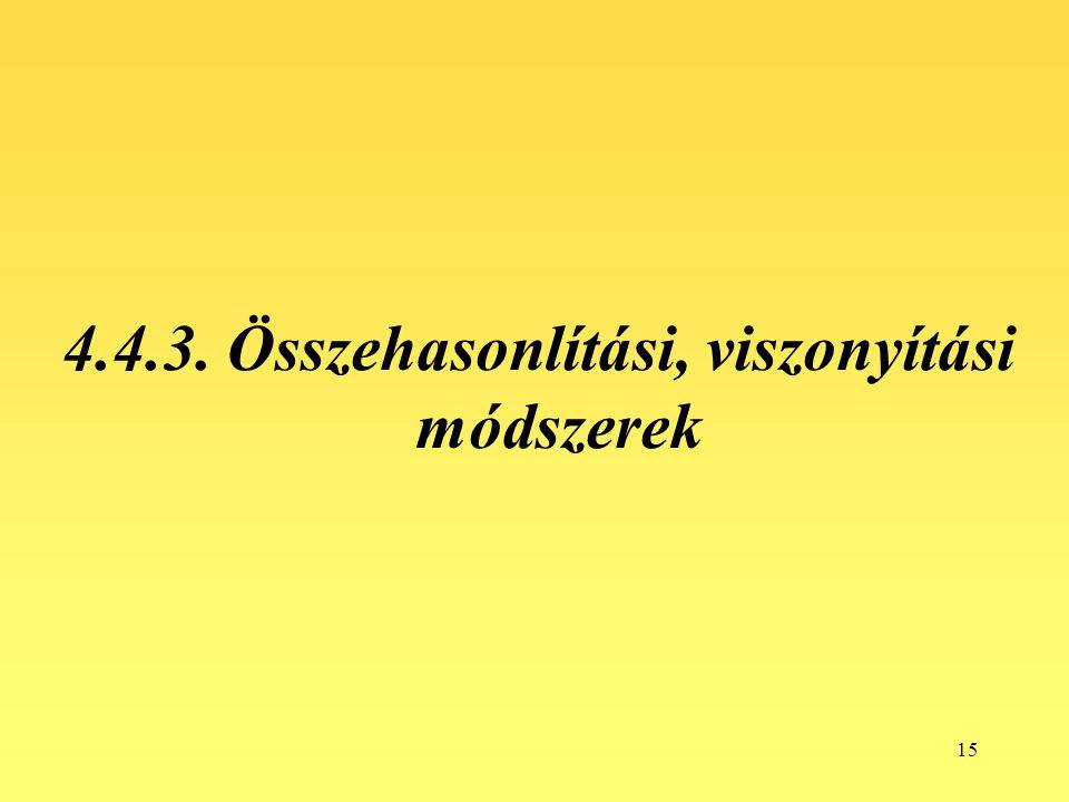 4.4.3. Összehasonlítási, viszonyítási módszerek