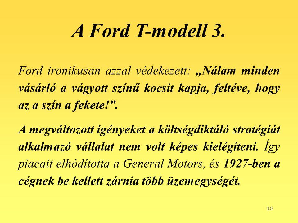 """A Ford T-modell 3. Ford ironikusan azzal védekezett: """"Nálam minden vásárló a vágyott színű kocsit kapja, feltéve, hogy az a szín a fekete! ."""