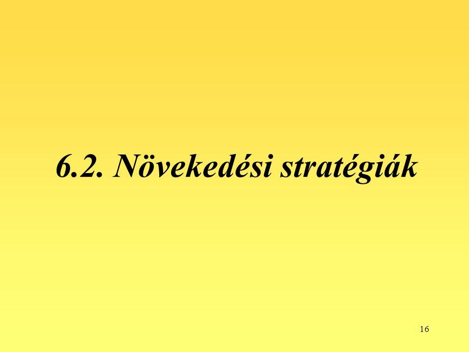 6.2. Növekedési stratégiák