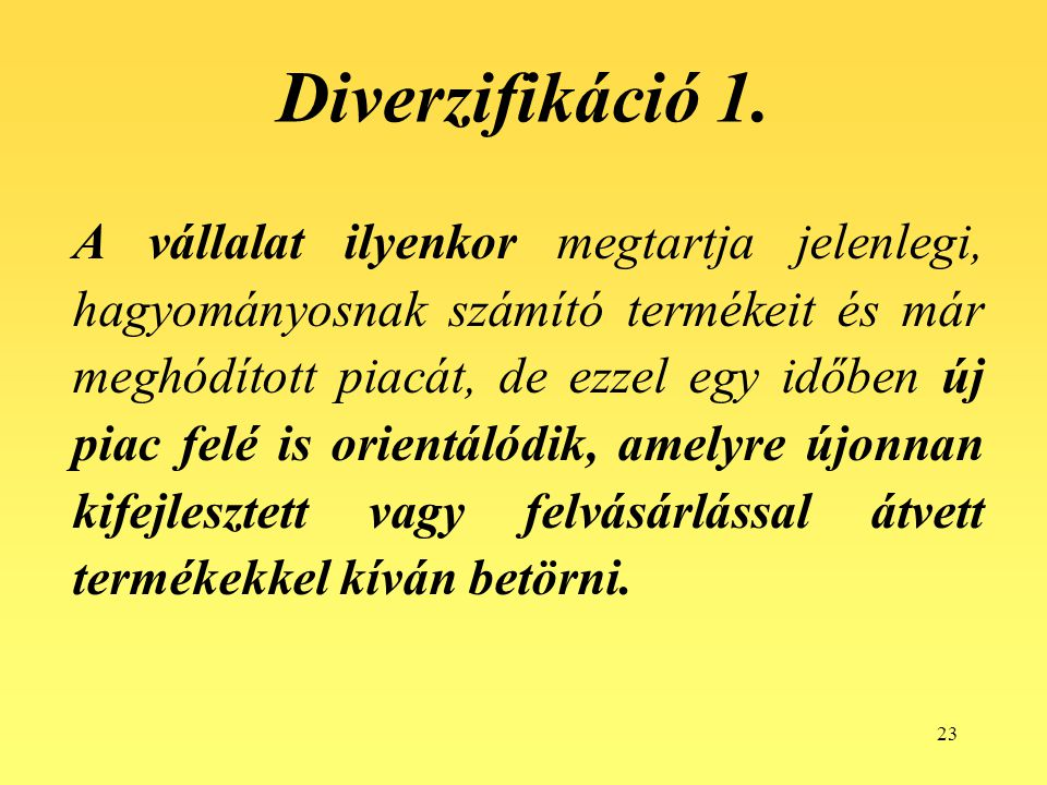 Diverzifikáció 1.