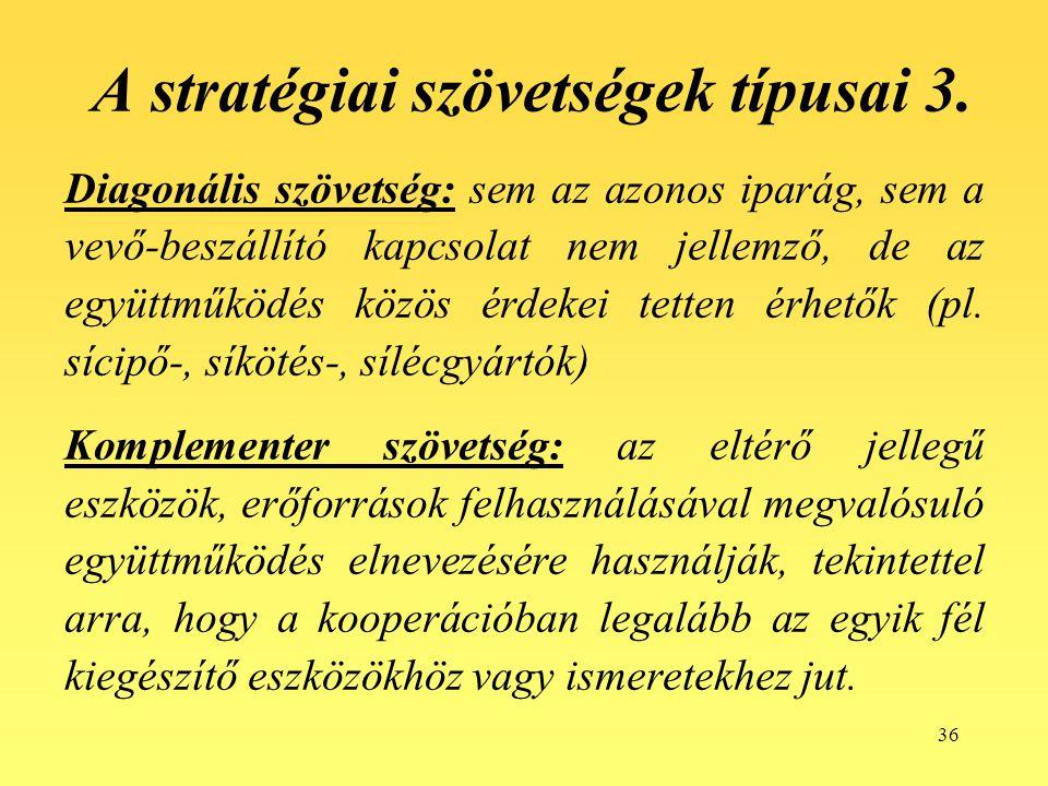 A stratégiai szövetségek típusai 3.
