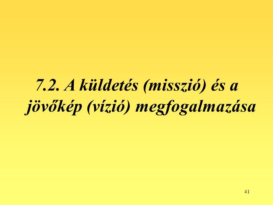 7.2. A küldetés (misszió) és a jövőkép (vízió) megfogalmazása