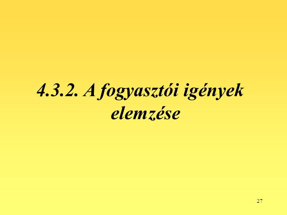 4.3.2. A fogyasztói igények elemzése