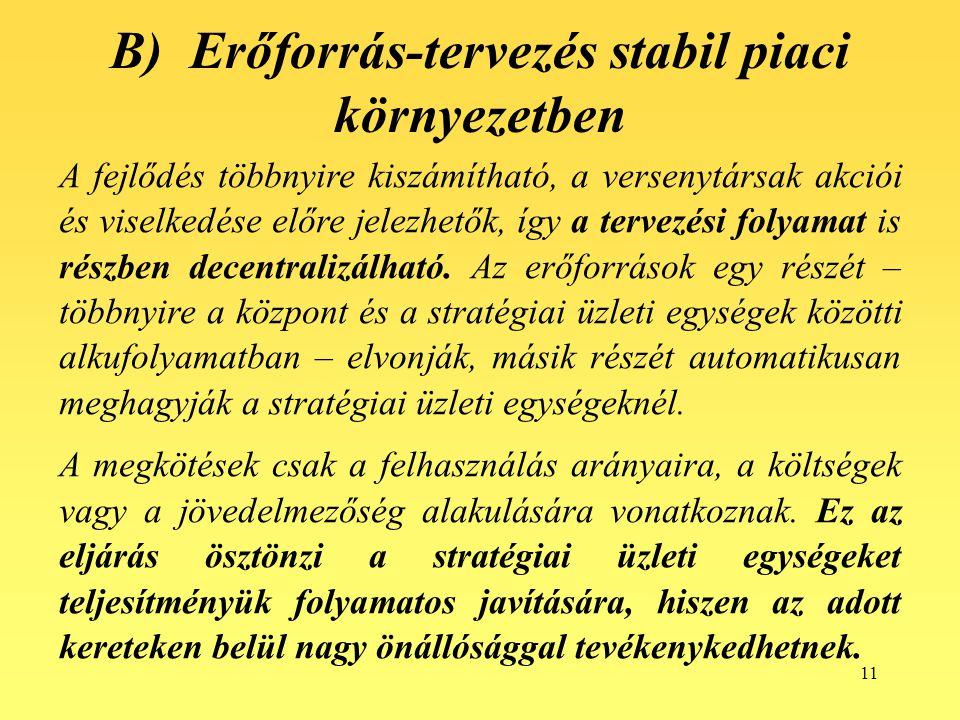 B) Erőforrás-tervezés stabil piaci környezetben