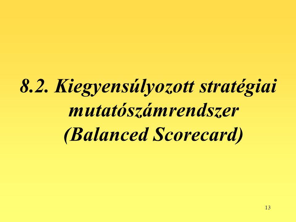 8.2. Kiegyensúlyozott stratégiai mutatószámrendszer (Balanced Scorecard)