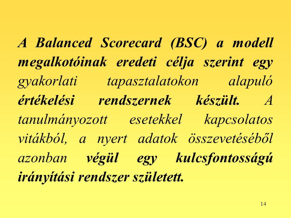 A Balanced Scorecard (BSC) a modell megalkotóinak eredeti célja szerint egy gyakorlati tapasztalatokon alapuló értékelési rendszernek készült.