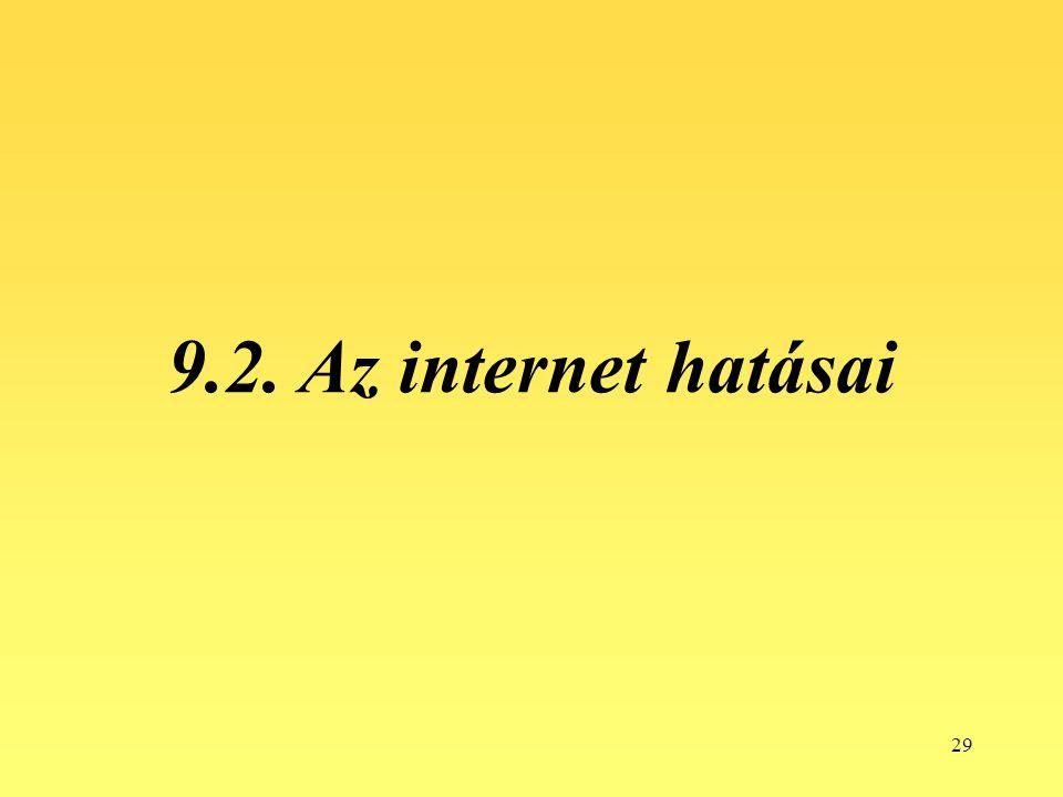 9.2. Az internet hatásai
