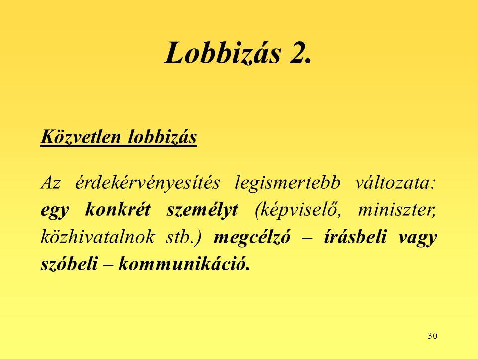 Lobbizás 2. Közvetlen lobbizás