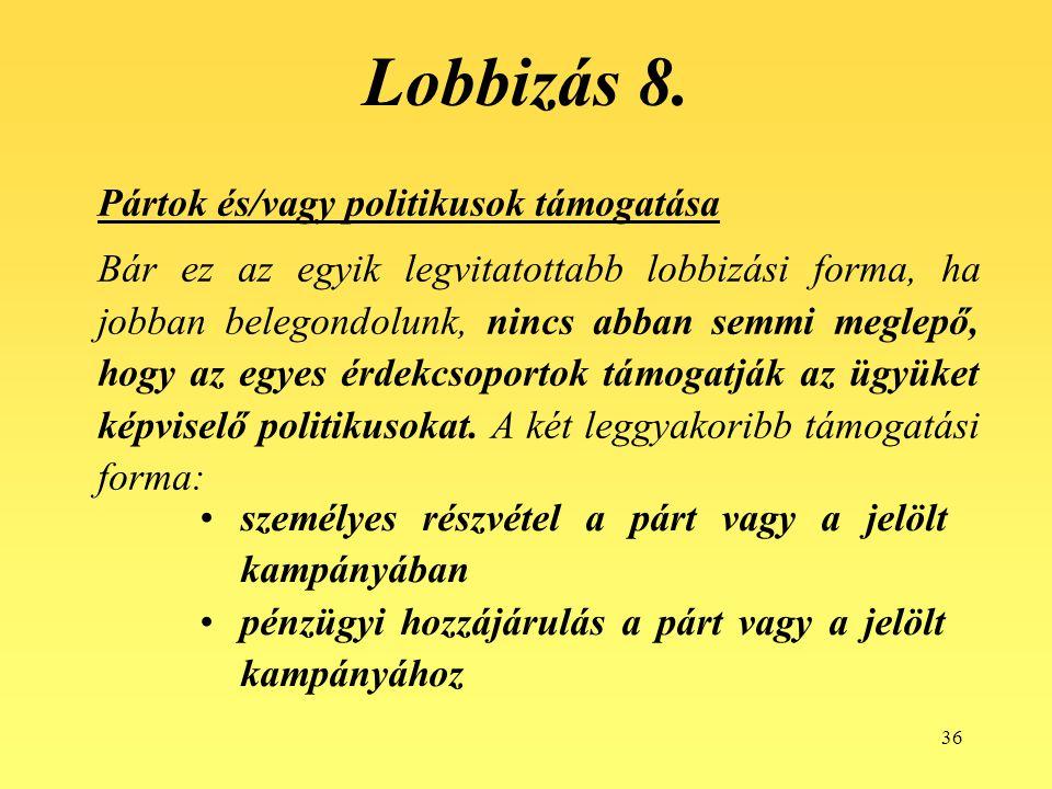 Lobbizás 8. Pártok és/vagy politikusok támogatása