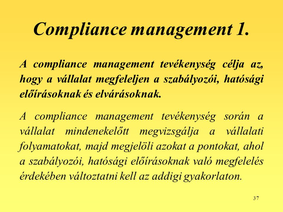 Compliance management 1.