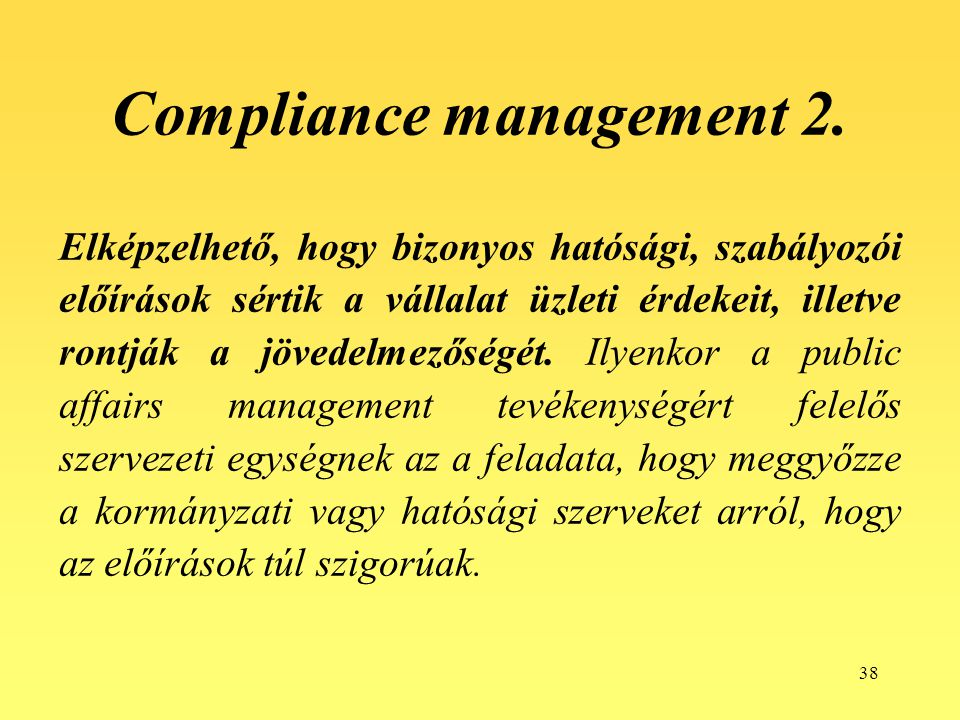 Compliance management 2.