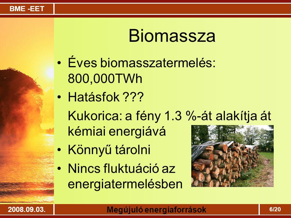 Biomassza Éves biomasszatermelés: 800,000TWh Hatásfok