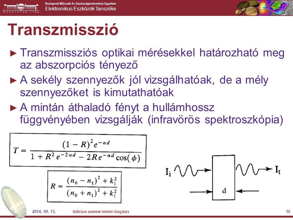 Transzmisszió Transzmissziós optikai mérésekkel határozható meg az abszorpciós tényező.
