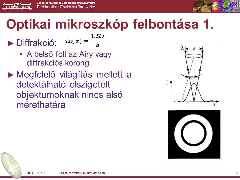 Optikai mikroszkóp felbontása 1.