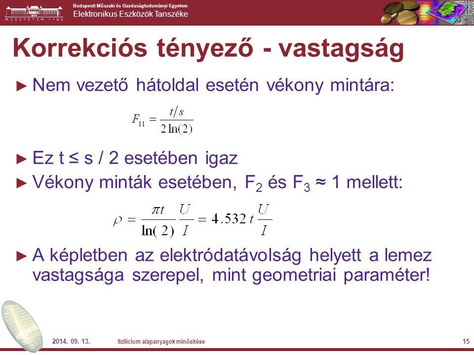 Korrekciós tényező - vastagság