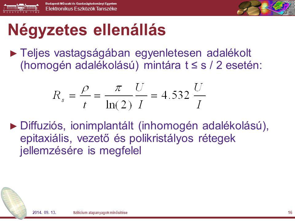 Négyzetes ellenállás Teljes vastagságában egyenletesen adalékolt (homogén adalékolású) mintára t ≤ s / 2 esetén: