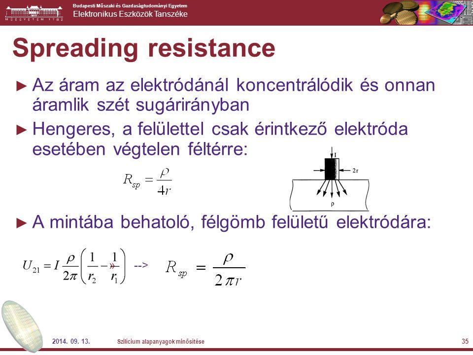 Spreading resistance Az áram az elektródánál koncentrálódik és onnan áramlik szét sugárirányban.