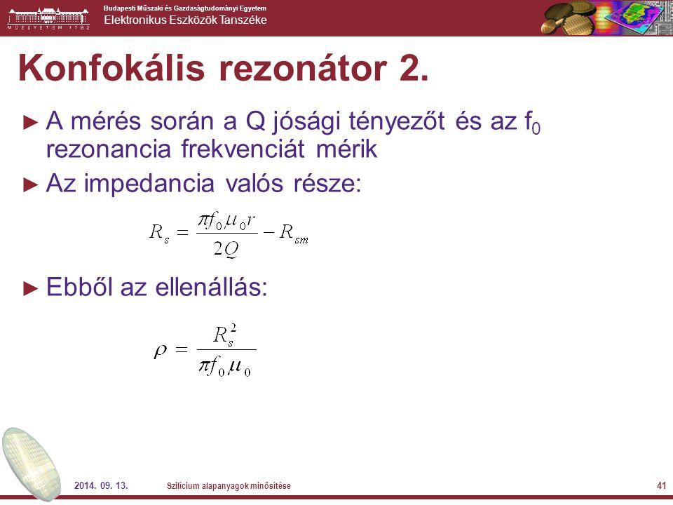 Konfokális rezonátor 2. A mérés során a Q jósági tényezőt és az f0 rezonancia frekvenciát mérik. Az impedancia valós része:
