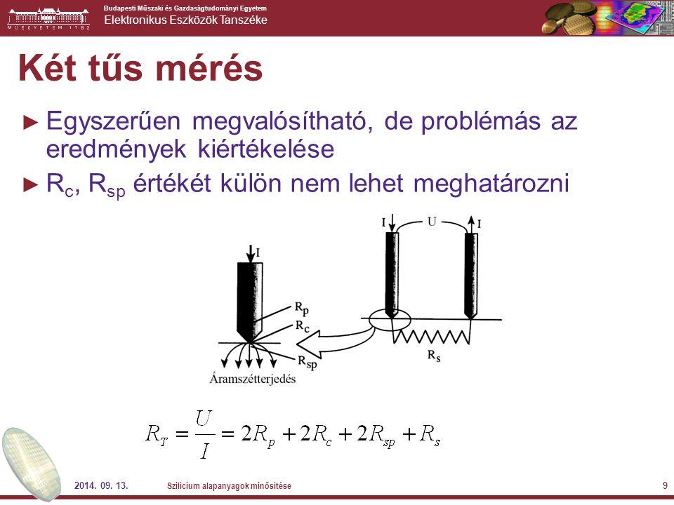 Két tűs mérés Egyszerűen megvalósítható, de problémás az eredmények kiértékelése. Rc, Rsp értékét külön nem lehet meghatározni.