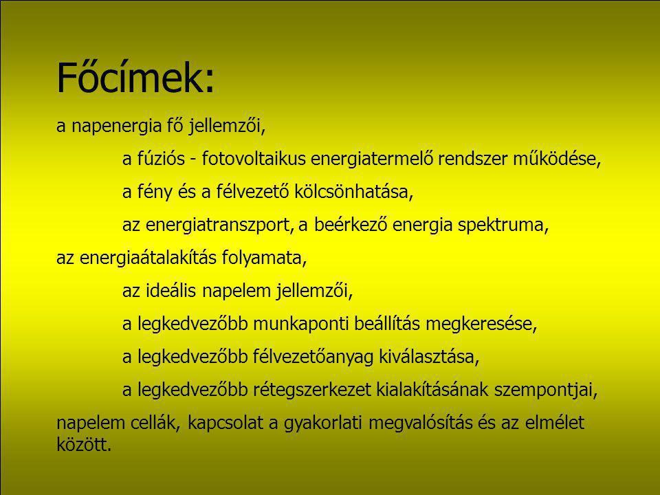 Főcímek: a napenergia fő jellemzői,