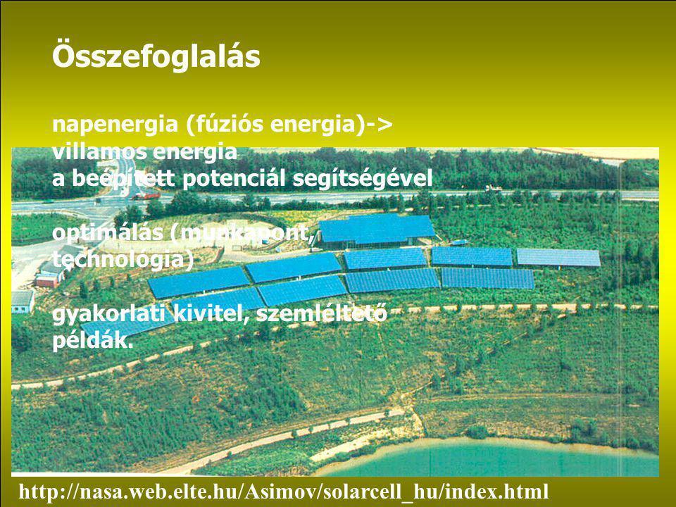 Összefoglalás napenergia (fúziós energia)-> villamos energia